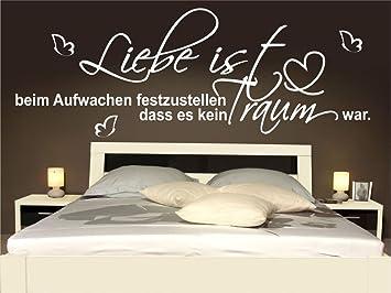 Wandtattoo Schlafzimmer Wohnzimmer Bett Liebe Aufwachen Sprüche ...
