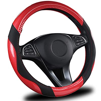 AmeriLuck Steering Wheel Cover for Car, Universal 15 inch, Odorless, Breathable, Anti-Slip, Sporty, Soft and Snug Grip, Carbon Fiber Effect (Red | Black): Automotive