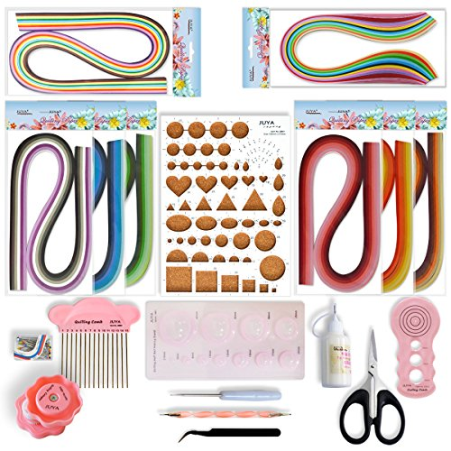 Juya Paper Quilling Kit with Pink Tools 960 Strips Board Mould Crimper Coach Comb (Width 3mm with Glue)