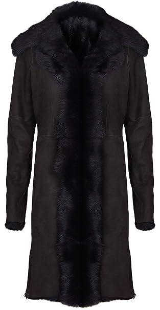 Infnity Leather Chaqueta de Gamuza Marrón de Ante de Piel de Oveja Real Toscana para Mujer