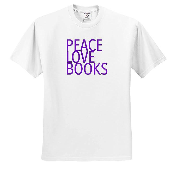 ts/_310830 Peace Love Books Purple Inspirational Sayings 3dRose EvaDane Adult T-Shirt XL