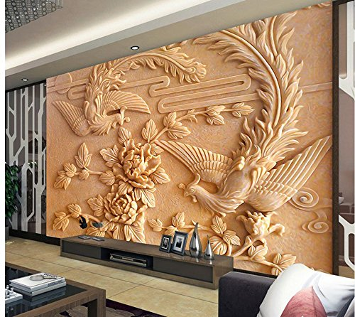 LHDLily 3D Wall Murals Wallpaper Home Decoration Design Of Tv Backdrop For Woodcarving Photo Wall Murals Wallpaper 300cmX200cm by LHDLily