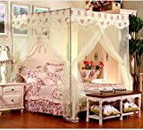 Beige 4 Corners Princess Circle Lace Curtain Mosquito Bed Canopy Netting (Full/queen)