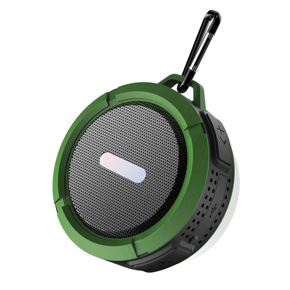 シャワースピーカー、ワイヤレス防水スピーカー5 Wドライブ、吸盤、内蔵マイク、ハンズフリースピーカーフォン – アーミーグリーン   B01NBBZBOE