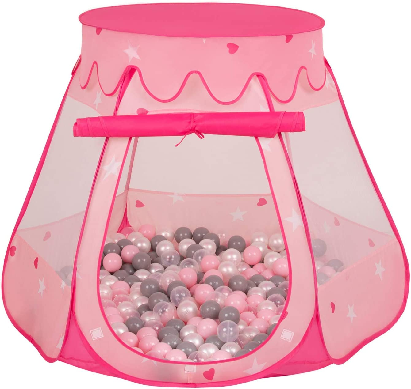 Pink:Pearl//Grey//Pink Selonis Play Tent 105X90cm//100 Balls Castle House Pop Up Ballpit Plastic Balls for Kids