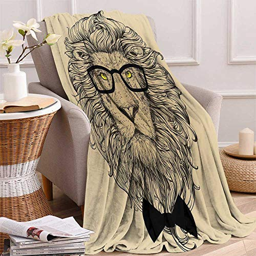 "maisi Indie Lightweight Blanket Lion Character Portrait with Glasses and Bowtie Hipster Smart Cool Dandy Digital Printing Blanket 50""x30"" Sand Brown Black Yellow"