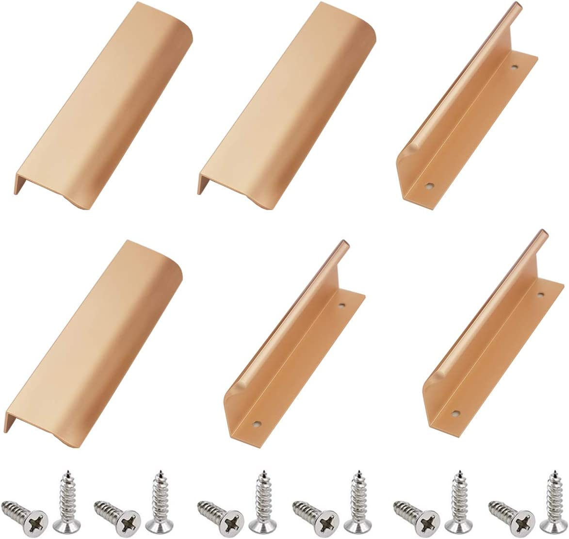 Pomos y Tiradores de Muebles Moderno, 6 Piezas Tirador Moderno para Cajón Alacena Puerta Mueble Armario, Manija Oculta Invisible, Aleación de Aluminio(150 mm) Juego de Manijas/Tirador de Mueble