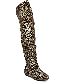 Amazon.com | Women's Camel Leopard Thigh High Lace Up Animal Print ...
