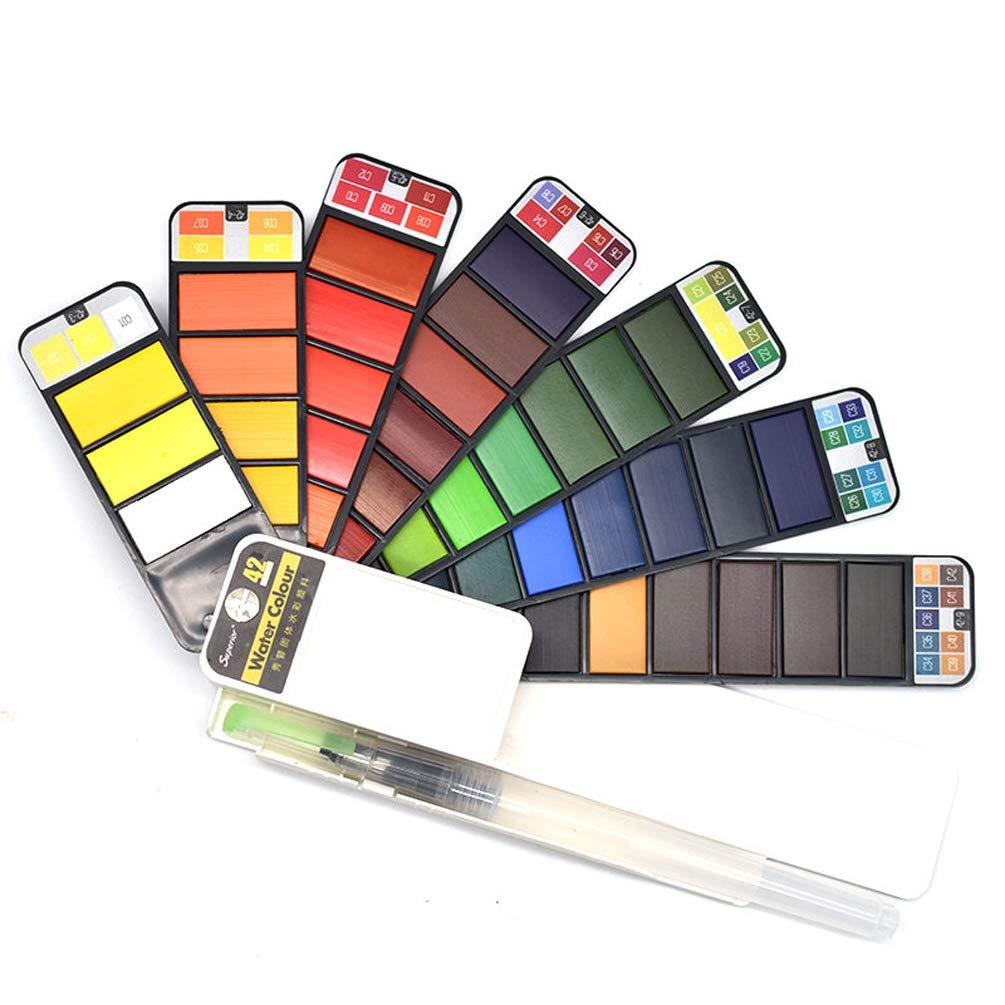 42色ポータブル折りたたみ式水彩ペイントセット S-3366 B07GP2QN4M 42 Colors