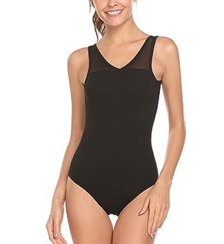 32d0150a3 Arshiner Women s Tank Leotard Dance Ballet Bodysuit Sweetheart Mesh ...