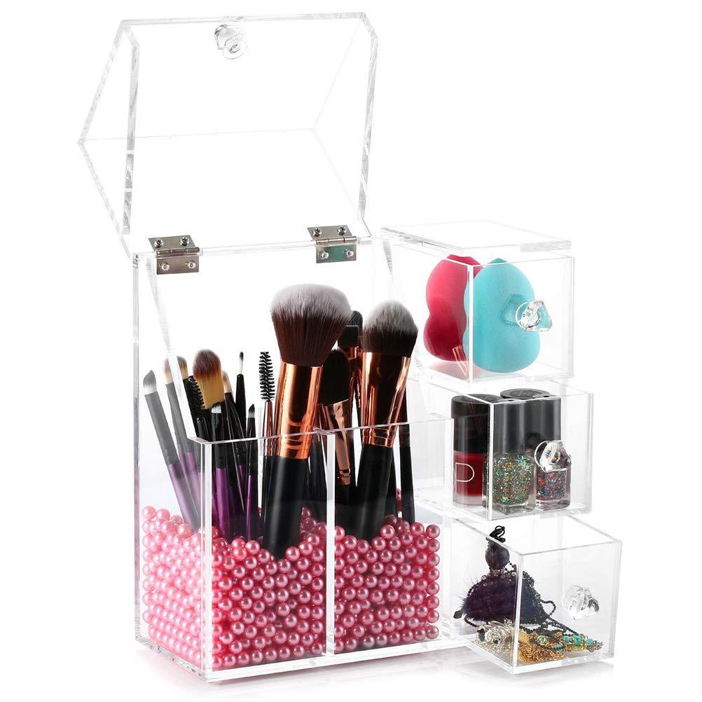 Jelinda Organizador De Maquillaje Maquillaje Pinceles para organizar Esmalte De Uñas Pintalabios Pinceles Joyas Y Brochas Acrilico Transparente con Perla Rosa Organizador O1ES-XY-A038