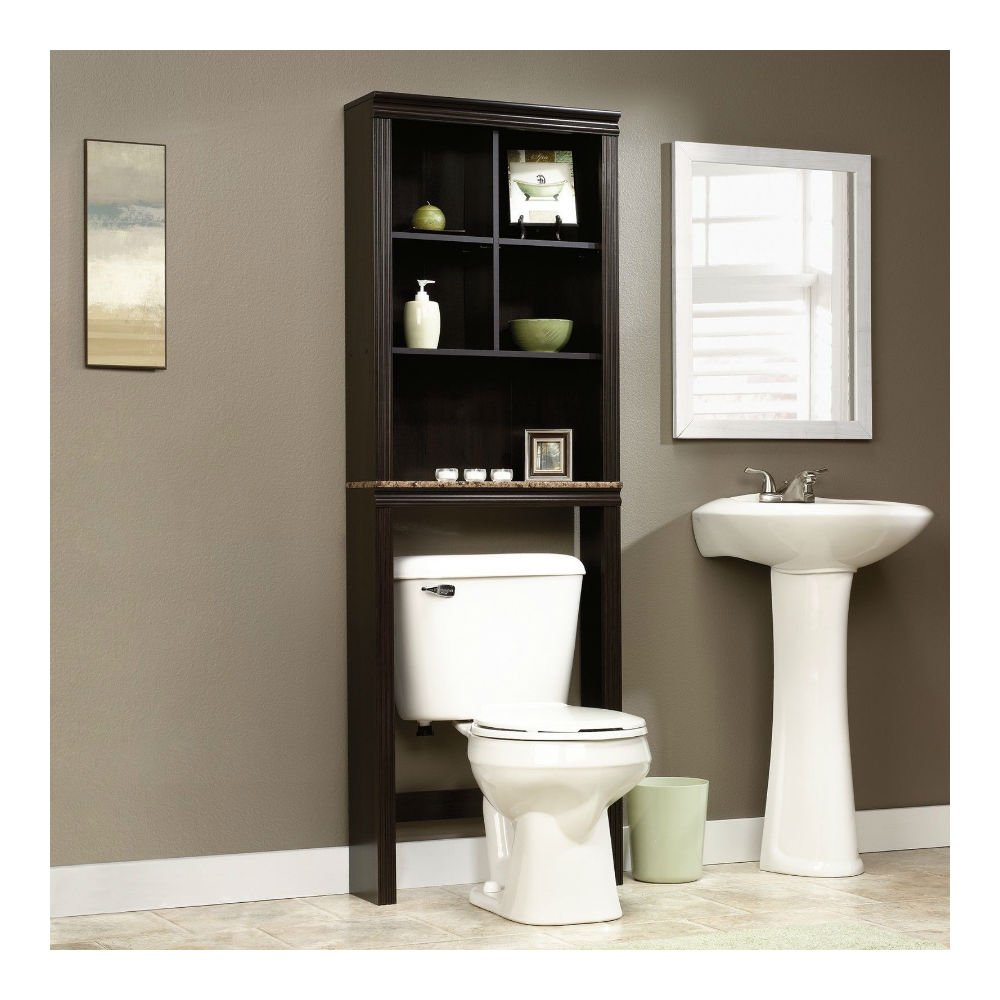 amazoncom sauder peppercorn etagere bath cabinet cinnamon cherry finish kitchen dining