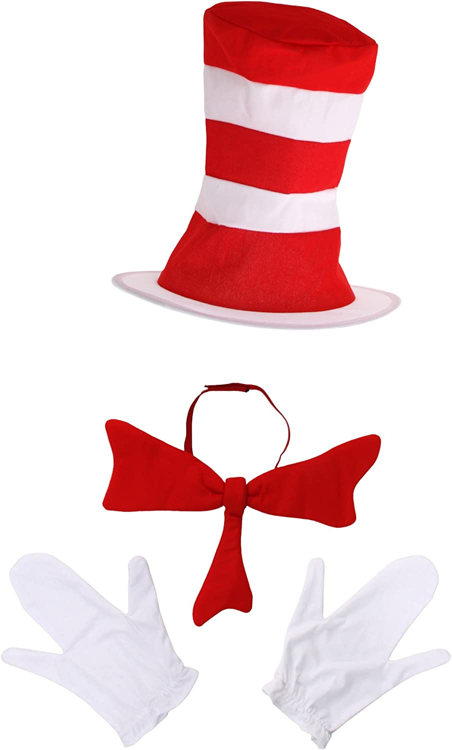 CHARACTER FELT BOW TIE Cat In The Hat Dr.Seuss Party Accessory Adult Child
