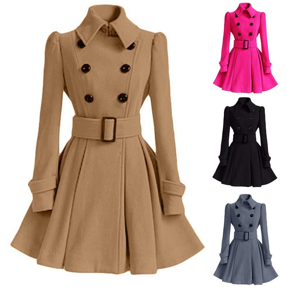 scaling Parka Faux Fur Coats/♥ Winter Warm Women Woolen Coat Trench Parka Jacket Belt Overcoat Outwear