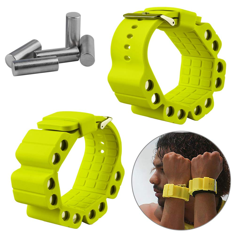 Wrist Weights, Adjustable Fitness Wearable Weighted Wristbands to Increase Arm & Leg Explosiveness and Endurance Training for Dance Barre Pilates Bounce Yoga Cardio Walking and Home Exercise (Yellow)