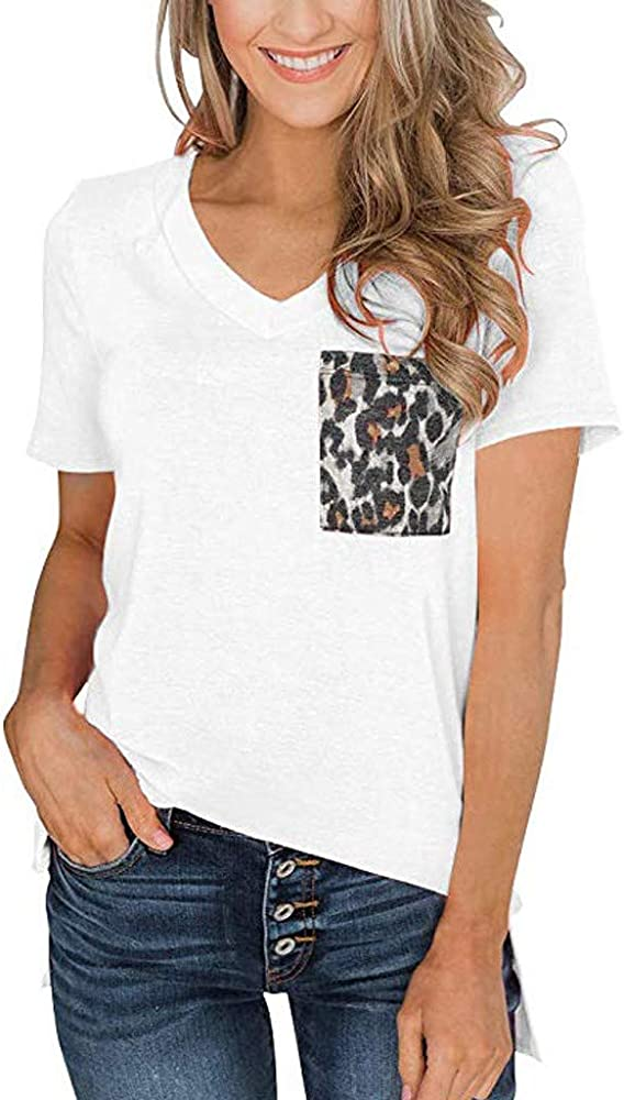 VEMOW Camisas Mujer Ropa de Mujer de Moda Camiseta Tops de Sólido de Manga Corta para Mujer Blusa de Patchwork(Blanco, S): Amazon.es: Ropa y accesorios