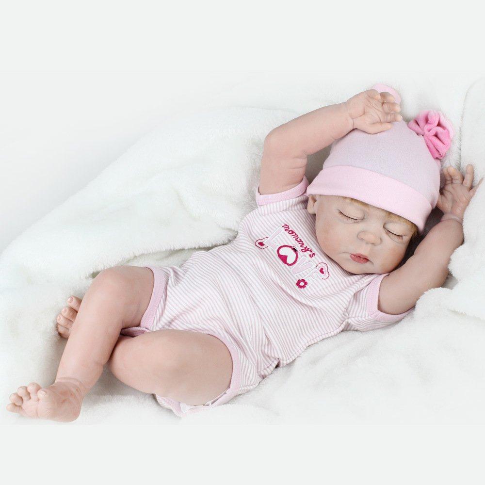 QXmEiシミュレーションRebirth人形シリコンかわいい赤ちゃんおもちゃ子供の誕生日ギフト55 cm   B07FP2BBMR