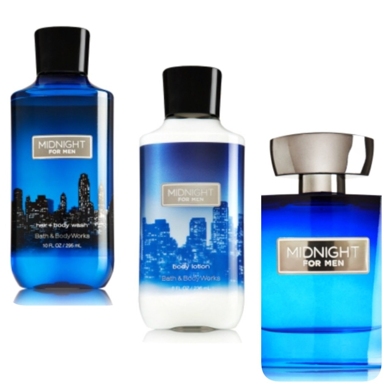 BATH AND BODY WORKS,MIDNIGHT FOR MEN GIFT SET,LOTION,BODY WASH,COLOGNE SPRAY.