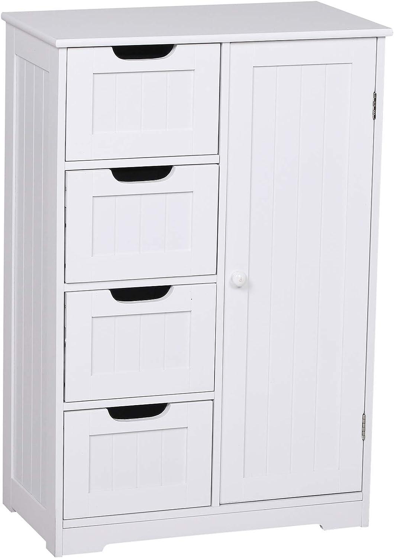 kleankin Armario Madera para Baño o Entrada Mueble Organizador Moderno de Madera 1 Puertas y 4 Cajones Color Blanco 56x30x83cm