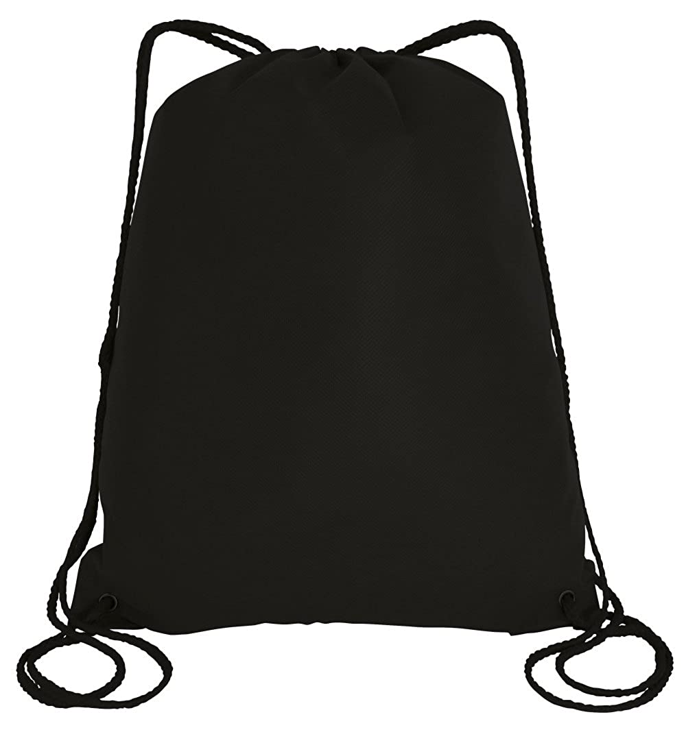 Black Large Drawstring Backpack NonWoven Sports Gym Sack Bag Travel Party 25 Pack