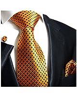 Paul Malone Necktie, Pocket Square and Cufflinks 100% Silk Orange Navy