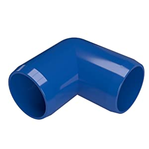 """FORMUFIT F03490E-BL-8 90 Degree Elbow PVC Fitting, Furniture Grade, 3/4"""" Size, Blue (Pack of 8)"""