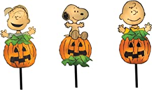 ProductWorks 36226_3PC Peanuts Pumpkin Gang LED Pathway Markers 1 Dimensional Flat 3 Piece Set Halloween Yard Art with 20 Lights Seasonal Décor