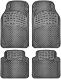 #5: OxGord 4pc Rubber Floor Mats Universal Fit Front Driver Passenger Seat for Car SUV Van and Truck - Brick Style - Gray