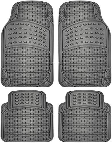 OxGord Set Eagle All-Weather Rubber Floor-Mats - Waterproof Protector for Spills, Dog, Pets, Car, SUV, Minivan, Truck - 4-Piece, Gray