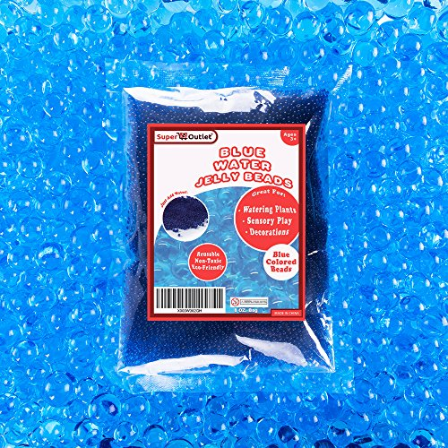 Super Z Outlet 1/2 Pound Bag of Blue Water Gel Beads Pearls for Vase Filler, Candles, Wedding Centerpiece, Home Decoration, Plants, Toys, Education. Makes 6 Gallons ()