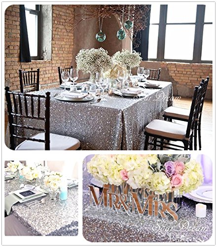 SoarDream Silver Sequin Tablecloth 50''x80'' Glitter Sequin Tablecloth Wholesale cheap tablecloths