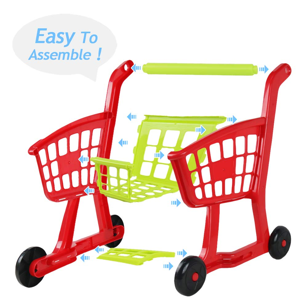 Fajiabao Kids Shopping Cart Toy Play Grocery Cart Trolley Supermarket Pretend Playset with 27 PCS Fruits Vegetables Food for Toddler Child Boys Girls 2 3 4 5 6 Years Old by Fajiabao (Image #3)