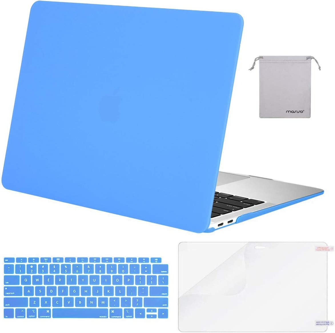 MOSISO MacBook Air 13 inch Case 2020 2019 2018 Release A2179 A1932 with Retina Display, Plastic Hard Shell&Keyboard Cover&Screen Protector&Storage Bag Compatible with MacBook Air 13, Brahmin Blue
