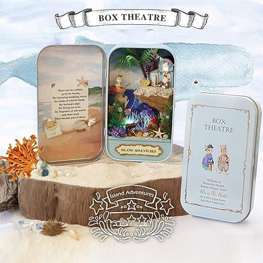 CVERY - Kit de miniaturas, Caja de Metal 3D, Modelo de Teatro con luz LED, casa de muñecas en Miniatura, Juguete para niñas, Regalo de cumpleaños, 2, Tamaño Libre: Amazon.es: Hogar