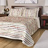 2 Piece Girls Multicolor Patchwork Stripes Pattern Quilt Twin Set, Whimsical Floral Horizontal Stripe Pattern, Colorful Ruffled Vintage Style, Solid Reversible Bedding, Cozy Vibrant Colors