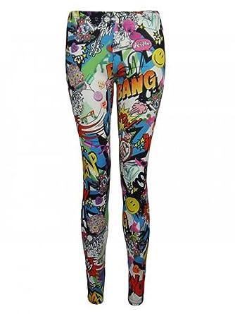 09a9e44c24e37 Womens Comic Book Bang Printed Leggings: Amazon.co.uk: Clothing