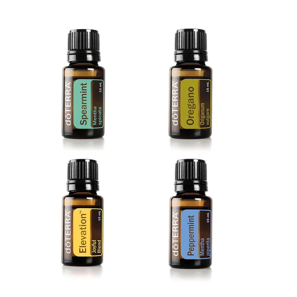 doTERRA Essential Oil Value Set [4 in 1 Started Kit] - Elevation 15ml + Peppermint 15ml + Oregano 15ml + Spearmint Essential Oil 15ml