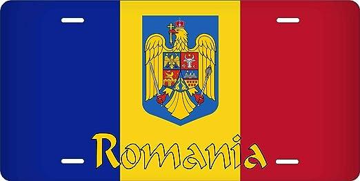 Inga - Placa de matrícula de coche/moto/ciclomotor personalizable, diseño de bandera de Rumanía, 15,2 x 30,5 cm: Amazon.es: Hogar