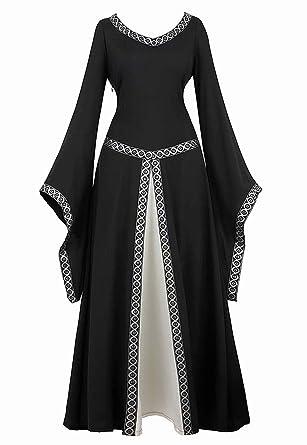 Vestido Medieval Renacimiento Mujer Vintage Victoriano gotico con Manga Larga de Llamarada Disfraz Princesa