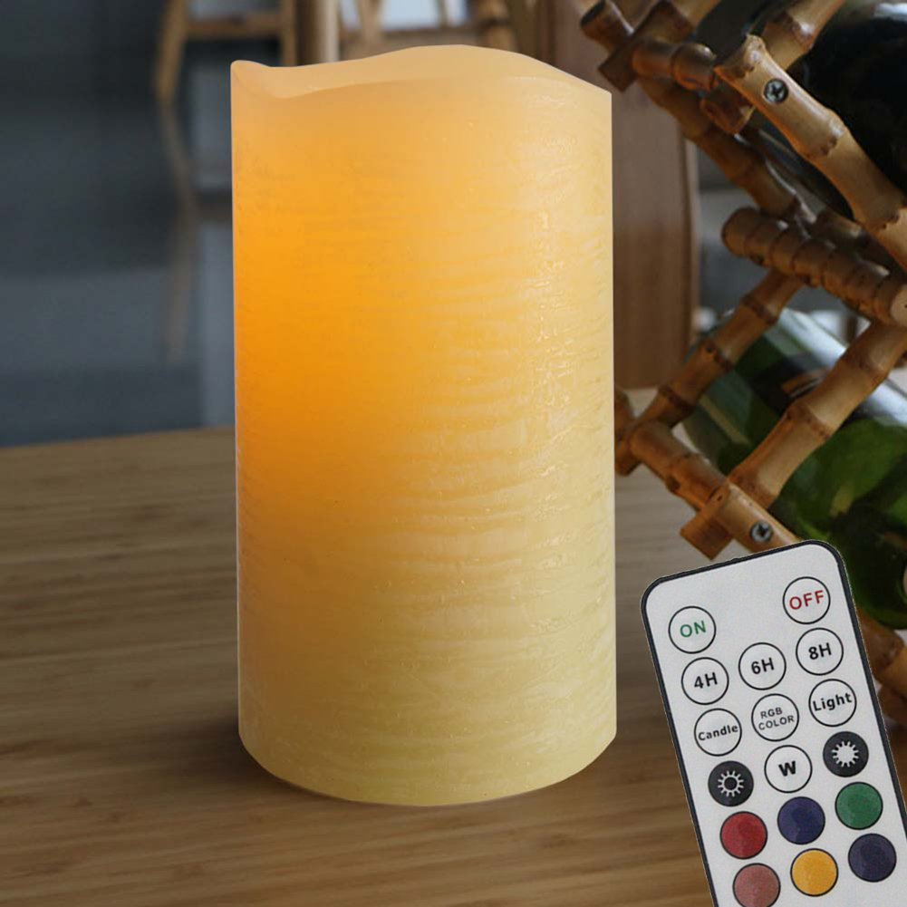 Flameless Candles Flickering Real Wax Candles Lights Battery Operated with Remote, Timer, Dimmer, Color Changer and Mode Changer for Seasonal & Festival and Home Decoration (6''_Yellowish)