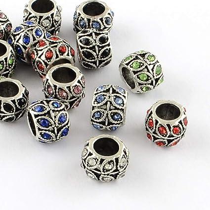50pcs MIX Crystal Rhinestone Tibetan Beads Rondelle Spacer Fit Charms Bracelets