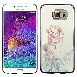 KLONGSHOP // Cubierta de piel con cierre a presión Shell trasero duro de goma Protección Caso - Mujer Gato - Samsung Galaxy S6 //