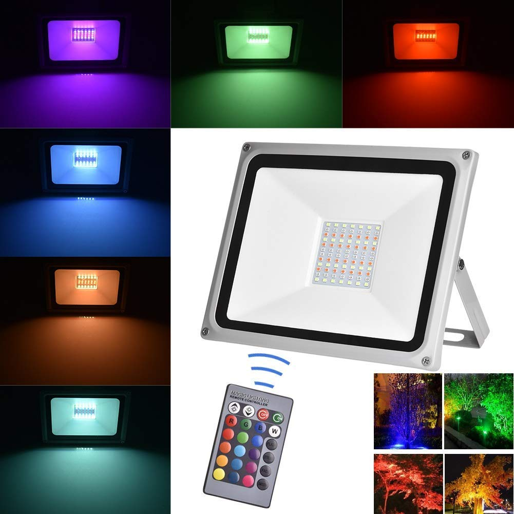 Viugreum Outdoor Dimmable Colour Changing LED Security Light with Remote Control Decorative Coloured Stage Garden Landscape Lighting 50W RGB LED Floodlights Waterproof IP65 16 Colours /& 4 Modes
