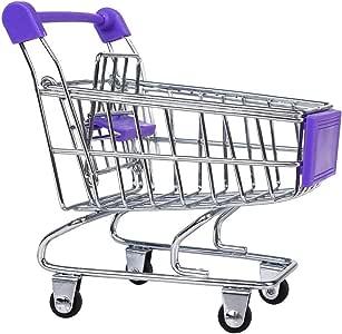 TTSAM Mini Supermarket Shopping Cart Trolley Pet Bird Parrot Hamster Toy Purple