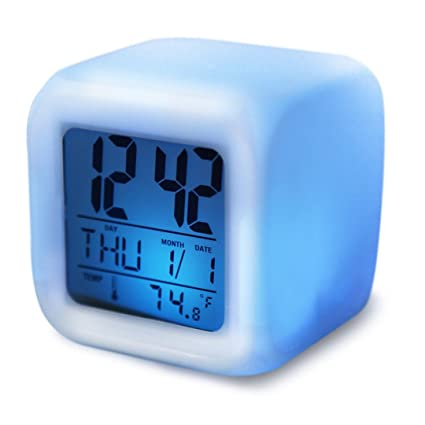 NAOZHONG 7 Cambio De Color Digital Brillante Despertador Escritorio Escritorio Digital Reloj Decorativo Con TermóMetro Gadget