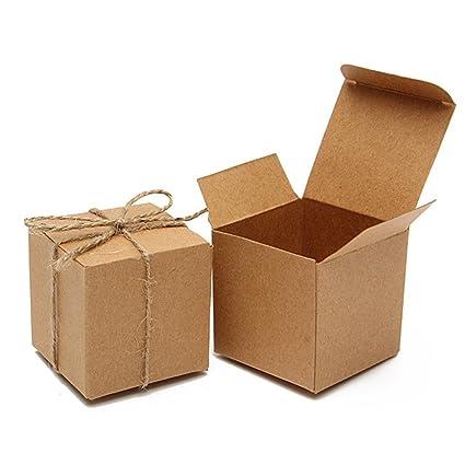 Cajas de papel kraft para dulces, 50 unidades, color marrón, cajas de regalo
