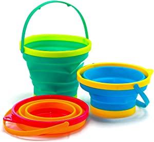 Collapsible Buckets, Foldable Pail Bucket Multi Purpose for Beach, Camping Gear Water and Food Jug, Dog Bowls, Cats, Dogs and Puppys, Camping and Fishing Tub,Portable Silicone Pail