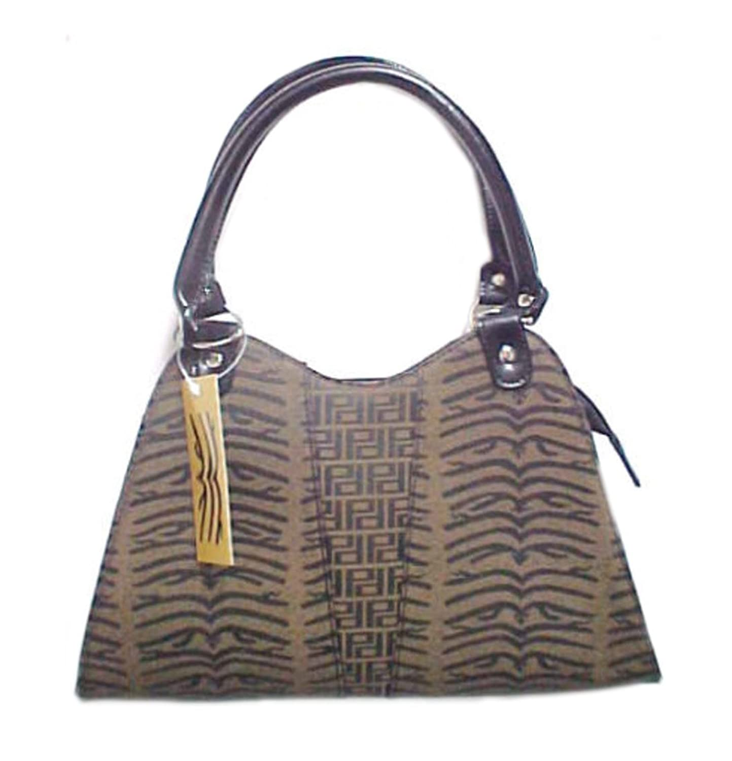 Brown and Black Double Handle Tiger Striped Purse