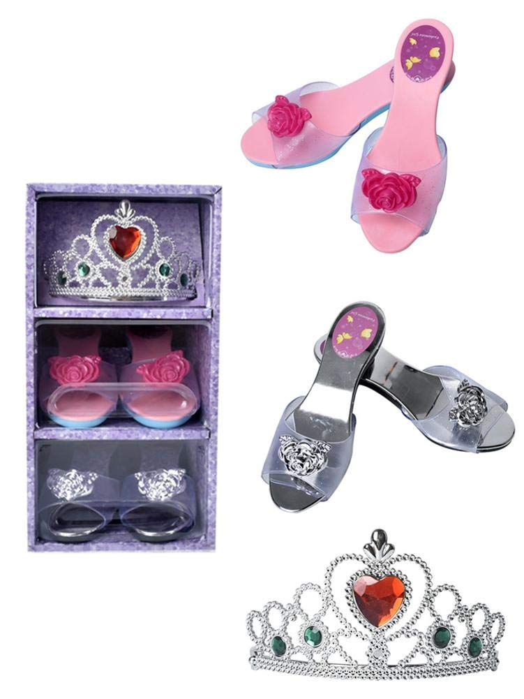 Ivyode Perfect Play Set Princess Dress Up And Play Shoe /& Tiara Includes 2 Pairs Of Shoes /& 1 Role-Play Crown Jewels Tiaras realistic