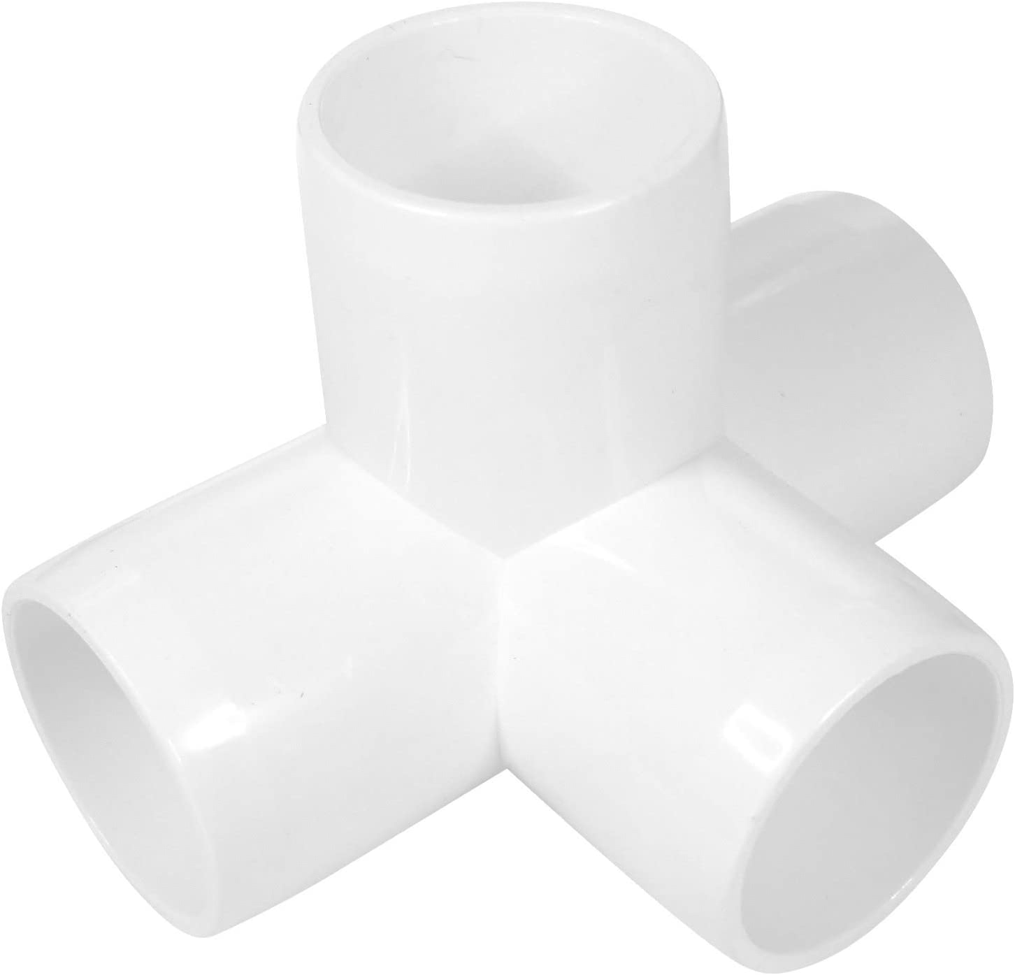 (10 PACK) 4-Way 1 1/4 inch SCH40 PVC Fitting, Tee Pipe Fittings PVC Connectors - Build Heavy Duty Furniture Grade for 1 1/4 inch inch Size Pipe, White (10)